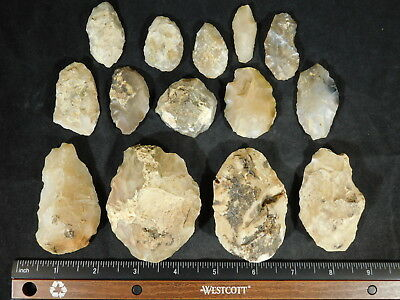 Lot of 55,000 to 12,000 Year Old Early Man Aterian Arifacts From Algeria 390gr e