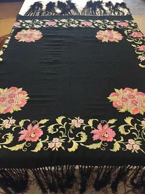 Antique Colorful Floral Embroidered Piano Shawl Deep Fringe Black Pink Green