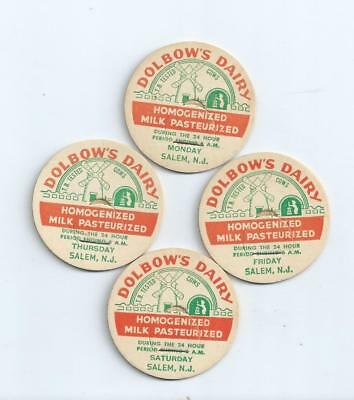 """Four day`s from """"Dolbow`s Dairy""""   Salem, N.J.  milk bottle caps."""