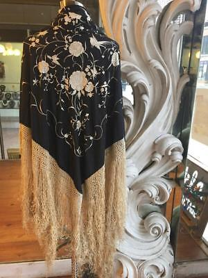 Antique Piano Shawl Black with Beige Floral Embroidery Gold Fringe