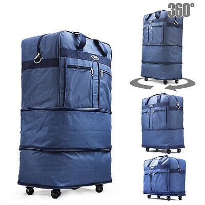 "30"" Blu Rolling Wheeled Duffle Duffel Bag Spinner Suitcase Luggage Expandable"