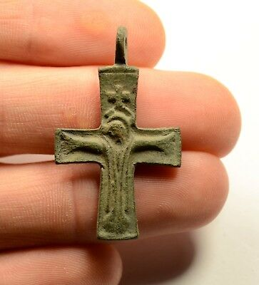 Ancient Byzantine Bronze Cross - Religious Artifact - Image Of Jesus - Wearable