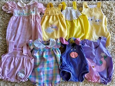 baby girl vintage romper lot of 8 newborn to 6 month rompers
