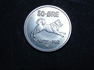 Norway 50 Ore 1961 Gem Uncirculated  Coin