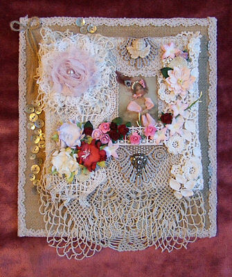 Embellished Victorian Style Antique Vintage Lace & Floral Wall Hanging Handmade