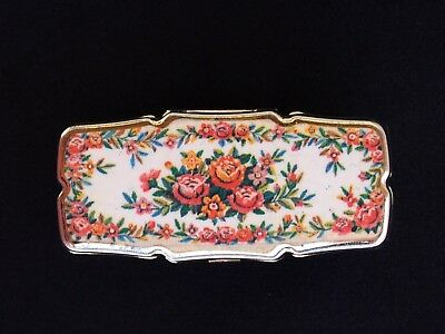 Vintage Floral Lipstick Holder with Mirror Japanese White w/ Colorful Flowers