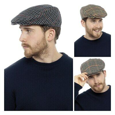 Mens Flat Cap Traditional Check Tweed Peak Golfing Caps Classic Dads Country Hat