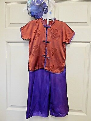 Vintage Asian/Chinese Style Child's Silk Pajamas w/Hat, Need TLC
