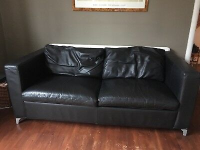 Superb Ikea Karlanda Black Leather Sofa Bed 60 00 Picclick Uk Onthecornerstone Fun Painted Chair Ideas Images Onthecornerstoneorg