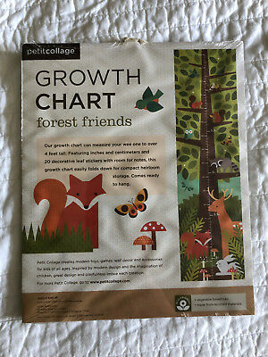Growth Chart Forest Friends Woodland Themed Fox Deer Owl NEW Petit Collage A-16