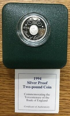 1994  Silver Proof Two Pound Coin,with Box & Coa As Issued By The Royal Mint