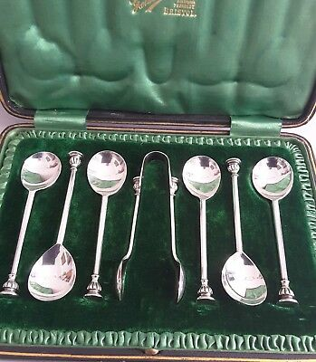 Good Cased Set 6 Ant. Solid Silver Seal-Top Tea Spoons + Tongs.   Sheff. 1908.