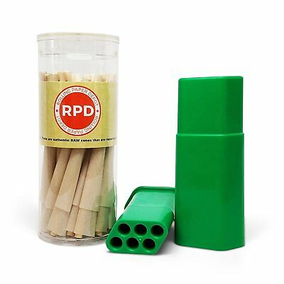 Custody Cone Filler Case (Green) with RAW Organic Pre-Rolled 1 1/4 Cones