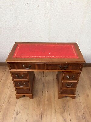Vintage Reproduction Yew Wood Knee Hole Desk