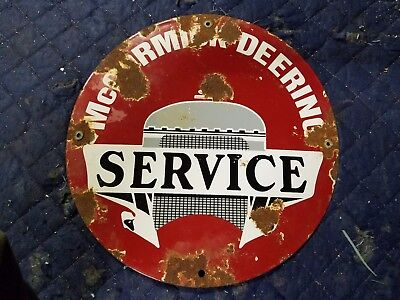 McCormick Feeding Service Porcelain Metal Sign IH International Tractor Farm Oil