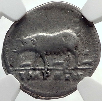 TITUS Authentic Ancient 77AD Rome Silver Roman Coin w SOW PIGLETS NGC i68925