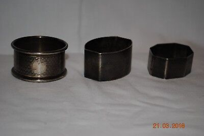 3 x Antique / Vintage Silver Napkin Rings 1930s / 1940s