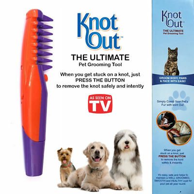 Knot Out Electric Pet Grooming Flea Comb Dog Pet Hair Trimmer Tangles UK