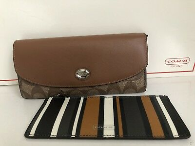 New Coach Signature Peyton Saffiano Leather Slim Envelope Pouch Wallet Saddle