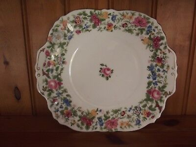 Crown Staffordshire Gilted Floral Winged Cake Plate