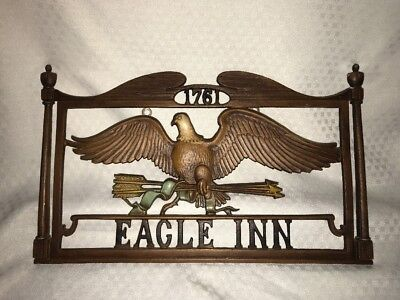 """Vintage Sexton Cast Iron Metal """"1761 Eagle Inn"""" Plaque Sign Wall Hanging"""