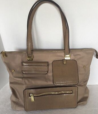 "TUTILO~CARRY THE DAY LARGE TOTE/LAP TOP BAG BROWN NYLON XLNT COND 14""x 20"""