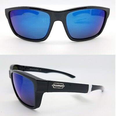b327e26f34 NEW Suncloud sunglasses Mayor Black Blue Mirror Polarized rectangle medium  ice