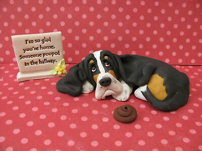 "Handsculpted Black Basset Hound ""Someone pooped in the hallway"" 3 pc. Figurine"