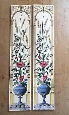 Beautiful Victorian Style Fire Place Tiles 10 Floral Detail Good Condition