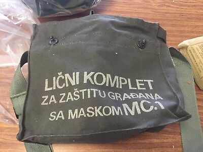 Yugoslavian Gas Mask with Filter and Canvas Carrier