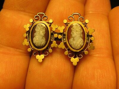 Antique Victorian Gold Filled Double Cameo Brooch Circa 1880's Charming