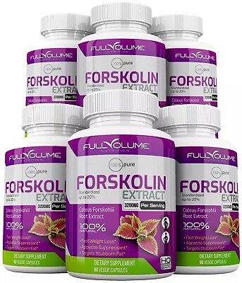 6 x Forskolin Maximum Strength 100% Pure 3000mg Rapid Results! Forskolin Extract