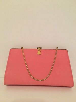 Vintage Pink Clutch Purse Gold Ribbon Clasp And Chain Navy Blue Cloth Lining