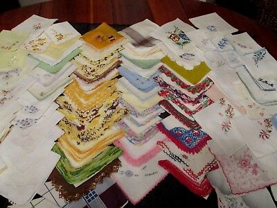 lot of 80 Vintage cutter/craft Embroidered, crochet hankies w flaws Variety