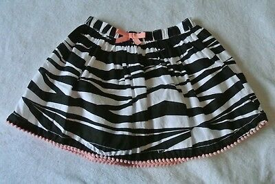 Gymboree 100% cotton back and white zebra skirt pink trim fully lined size 6