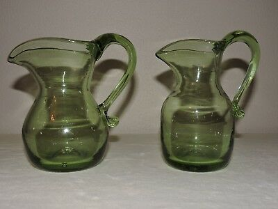 Vintage Hand Blown Pitcher Green Glass Bubbles Lot of 2