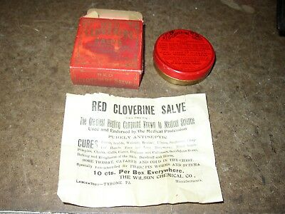 Red Cloverine Salve, New Old Stock Tin In Box. Wilson Chemical Co., Tyrone, Pa.