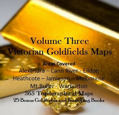 CD - Victorian Goldfields - Vol 3 Eastern Area - 365 Prospecting Maps + 25 Books