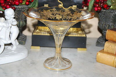 Nice Old Victorian French Trumpet Style Crystal Hand Cut Gilded Tall Candy Dish