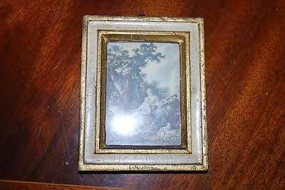 Wonderful Distressed Florentine Gilded White Picture Frame Great For Kpm Plaque