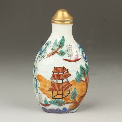 Chinese Exquisite Handmade people landscape pattern porcelain snuff bottle