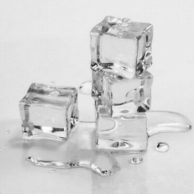"""24pcs Fake Food Faux Acrylic Ice Cubes Crystal Clear 3/4"""" Square Party Home DIY"""