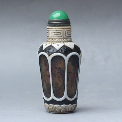 Chinese Exquisite Handmade flower insect pattern Glass snuff bottle