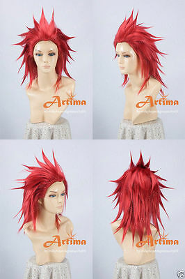 Anime Kingdom hearts Axel Red Cosplay Costume Wig + Free CAP + Track NO