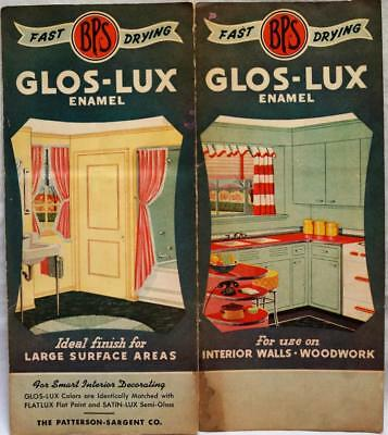 BPS GLOS-LUX INTERIOR HOUSE PAINT COLOR CHART ADVERTISING BROCHURE 1940s VINTAGE