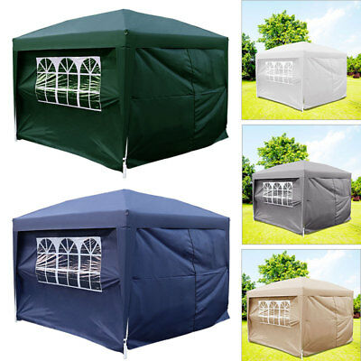 Foldable Pop Up Gazebo Canopy Waterproof Steel Frame Awning 4 Sides Walls Window