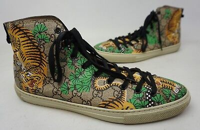 e330235deb8 Gucci Men s Bengal Tiger GG Supreme Canvas High-Top Sneaker Shoes Size 9.5 G