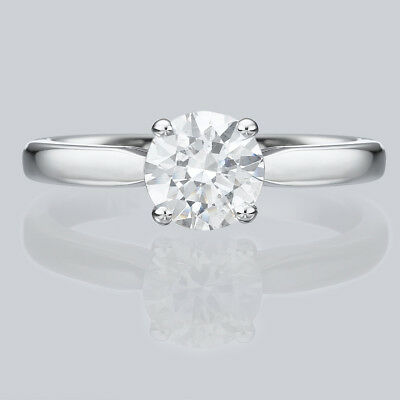 Solitaire 14K White Gold Round Cut Diamond Engagement Ring Enhanced 2/3 CT F/SI2