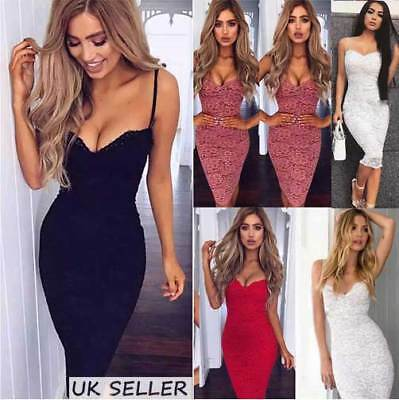 Womens Strappy Plunge Bodycon Dress Ladies Evening Party Lace Midi Dress 6-14 UK
