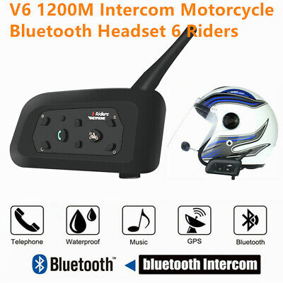 BT Bluetooth Motorrad Helm Interphone Intercom Headset V6 1200M 6 Fahrer D8K9